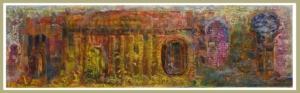 """""""SECUENCIA HORIZONTAL VI"""" 26x87cm. Collage, tintas, pigmentos, ácido... y óleo sobre madera ensamblada y preparada. 2017-19"""