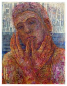 """""""EL LLANTO. NO QUIERO MIRAR III"""" 65x50cm. Esmaltes, tintas, pigmentos y Pastel sobre cartulina Canson naranja. 2017- abril 2019"""