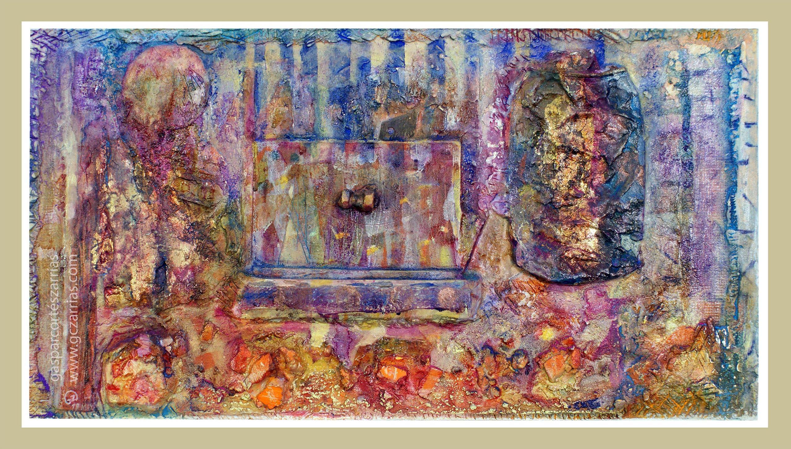 BREVE SECUENCIA DE TIEMPO I. Metal oxidado, metacrilato, madera, objetos diversos, polvo de mármol, esmalte, óleo, ácido, pan de oro... sobre madera ensamblada y preparada. 31,5x56,5cm. 2019.
