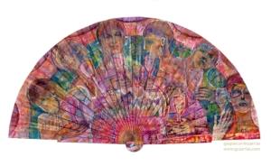 """""""LA RECUPERACIÓN"""". Esmalte, acrílico, tintas chinas, rotuladores, pan de oro, sobre abanico en tela blanca. Reverso esmalte blanco línea oro. Semicírculo 50 cm. Diámetro. 7-13 de agosto 2019 2019"""