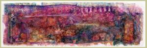 """""""SECUENCIA Y PLUMAS I. ACASO UN PEZ"""" 18,5 x 58 cm. Esmaltes, acrílicos, tintas chinas, rotuladores, pan de oro..., Sobre madera y cartón. 14-19 de agosto 2019"""