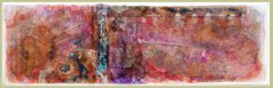 """""""SECUENCIA Y PLUMAS II, ACASO DOS INSTANTES VANOS"""" 18,5 x 58 cm. Esmaltes, acrílicos, tintas chinas, rotuladores, pan de oro..., Sobre madera y cartón. 20-23 de agosto 2019"""
