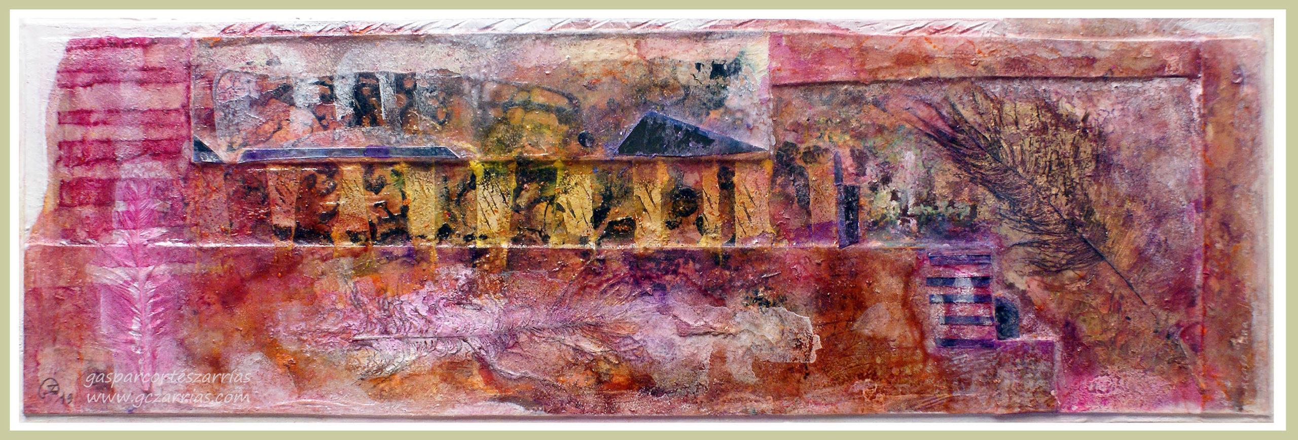 SECUENCIA Y PLUMAS III, ACASO UNA LLUVIA PERSISTENTE. Esmaltes, acrílicos, tintas chinas, rotuladores, pan de oro..., Sobre madera y cartón. 18,5 x 58 cm. Septiembre 2019.
