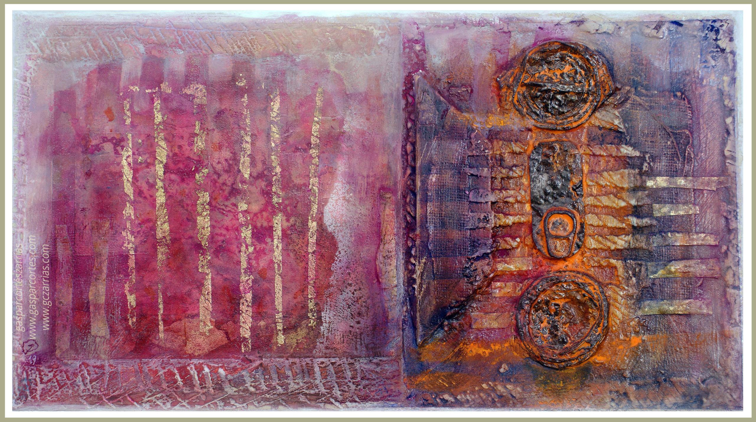 BREVE SECUENCIA DE TIEMPO III. Metal oxidado, metacrilato, madera, objetos diversos, polvo de mármol, esmalte, óleo, ácido, pan de oro... sobre madera ensamblada y preparada. 31,5x56,5cm. Dic 2019.